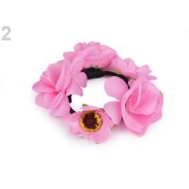 Gumička do vlasov s kvetmi ružová 1ks Stoklasa