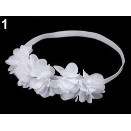 Pružná čelenka do vlasov s  kvetmi biela 1ks Stoklasa