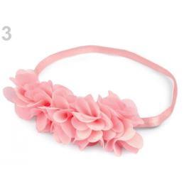 Pružná čelenka do vlasov s  kvetmi ružová najsv. 1ks Stoklasa