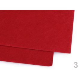 Látková dekoratívna plsť / filc 30x40 cm červená 12ks Stoklasa