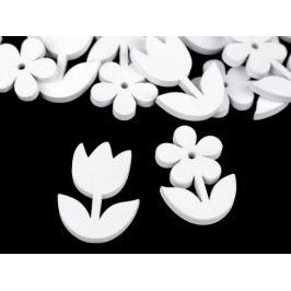 Drevená dekorácia kvety na nalepenie biela 1krab.