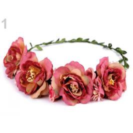 Kvetinový venček do vlasov ružová str. 1ks Stoklasa