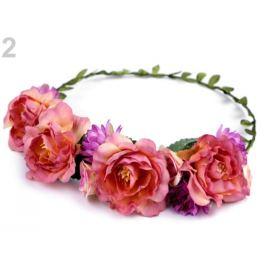 Kvetinový venček do vlasov fialovoružová 1ks Stoklasa