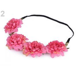 Pružná čelenka do vlasov s kvetmi ružová 1ks Stoklasa