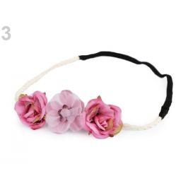 Pružná čelenka do vlasov s kvetmi ružová tm. 1ks Stoklasa
