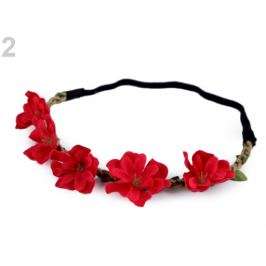Pružná čelenka do vlasov s kvetmi červená 1ks Stoklasa