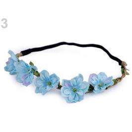 Pružná čelenka do vlasov s kvetmi modrá nezábudková 1ks Stoklasa