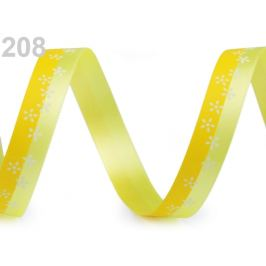 Saténová stuha dvojfarebná s kvetmi šírka 15 mm žltá 20m