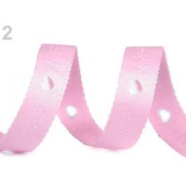 Saténová stuha Love s výsekom srdce šírka 12 mm ružová sv. 13.5m Stoklasa