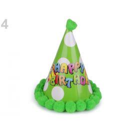 Karnevalový klobúčik s brmbolcami zelená sv. 12ks Stoklasa