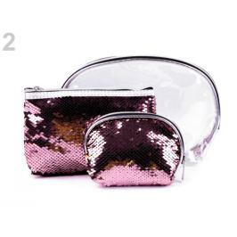Kozmetická taška priehľadná s obojstrannými flitrami, sada 3 ks ružová svetlá 1sada Stoklasa