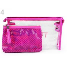 Kozmetická taška priehľadná a holografická Secret, sada 2 ks pink 1sada Stoklasa