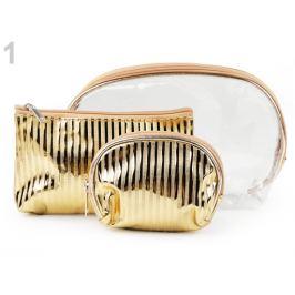Kozmetická taška priehľadná a metalická, sada 3 ks zlatá 1sada Stoklasa