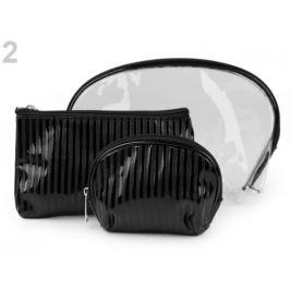 Kozmetická taška priehľadná a metalická, sada 3 ks čierna 1sada Stoklasa