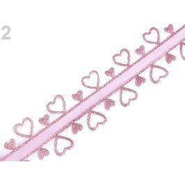 Svadobná stuha srdce s lurexom šírka 40 mm pudrová 13.5m Stoklasa