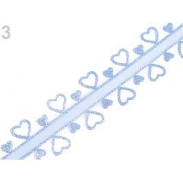 Svadobná stuha srdce s lurexom šírka 40 mm modrá sv. 13.5m Stoklasa