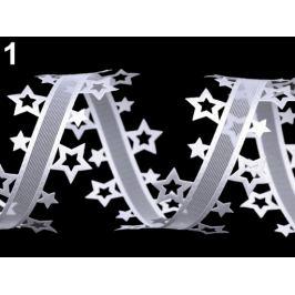 Vysekávaná stuha hviezdy šírka 40 mm biela 13.5m Stoklasa
