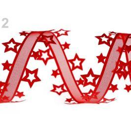 Vysekávaná stuha hviezdy šírka 40 mm červená 13.5m Stoklasa