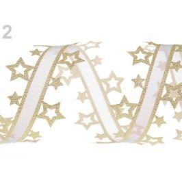 Vysekávaná stuha hviezdy s lurexom šírka 40 mm zlatá svetlá 13.5m Stoklasa