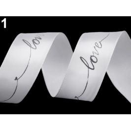 Saténová stuha s metalickou potlačou Love šírka 26 mm biela 13.5m Stoklasa