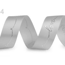 Saténová stuha s metalickou potlačou Love šírka 26 mm šedá 13.5m Stoklasa