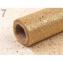 Tyl dekoračný šírka 20cm návin 10m s glitrami zlatá 100m Stoklasa