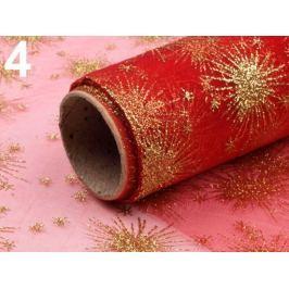 Organza vianočná s glitrami šírka 35cm červená vianočná  1ks Stoklasa
