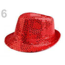 Klobúk s flitrami červená rumelka 3ks Stoklasa