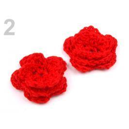 Háčkovaná kvetina Ø30-40 mm Fiery Red 100ks Stoklasa