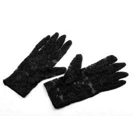 Spoločenské rukavice čipkované čierna 1pár Stoklasa