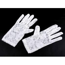 Spoločenské rukavice čipkované biela 1pár Stoklasa
