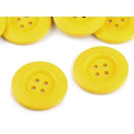 Drevený dekoračný gombík  štvordierkový žltá 10ks Stoklasa