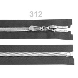 Špirálový zips so striebornými zúbkami šírka 7 mm dĺžka 70 cm Dark Shadow 1ks Stoklasa