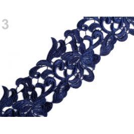 Vyšívaná čipka šírka 70 mm, 75 mm modrá berlínska 1m Stoklasa
