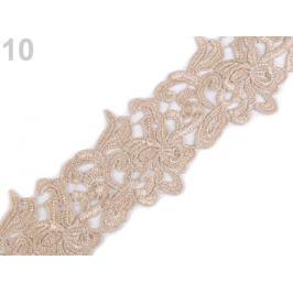 Vyšívaná čipka šírka 70 mm, 75 mm béžová 1m Stoklasa