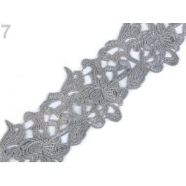 Vyšívaná čipka šírka 70 mm, 75 mm šedá 1m Stoklasa