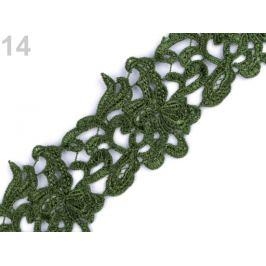 Vyšívaná čipka šírka 70 mm, 75 mm zelená 1m Stoklasa