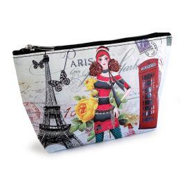 Kozmetická taška / puzdro Londýn, Paríž, Praha 14x23 cm tyrkys sv. 1ks Stoklasa
