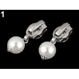 Bežec ku špirálovým zipsom 5 mm s perlou biela 2ks Stoklasa