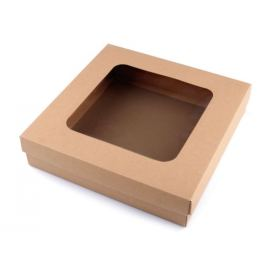 Darčeková krabica s priehľadom hnedá prírodná 4ks Stoklasa