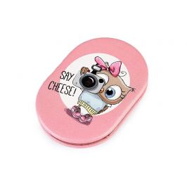 Kozmetické zrkadielko sova s veľkými očami ružová svetlá 1ks Stoklasa