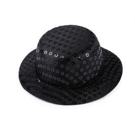 Mini klobúčik /  fascinátor s flitrami na dozdobenie Ø13,5 cm čierna 1ks Stoklasa