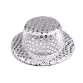 Mini klobúčik /  fascinátor s flitrami na dozdobenie Ø13,5 cm šedá najsv. 1ks Stoklasa