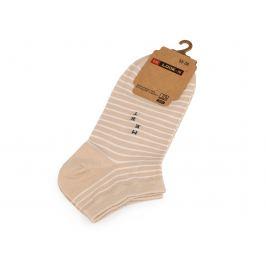 Dámske bavlnené ponožky členkové pruhy, prúžky,  bodka béžová sv. 1pár