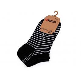 Dámske bavlnené ponožky členkové pruhy, prúžky,  bodka čierna 1pár
