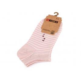 Dámske bavlnené ponožky členkové pruhy, prúžky,  bodka pudrová 1pár