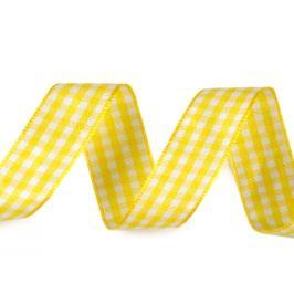 Károvaná stuha šírka 15 mm žltá   3m Stoklasa