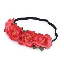 Pružná čelenka do vlasov s kvetmi červená sv. 1ks Stoklasa