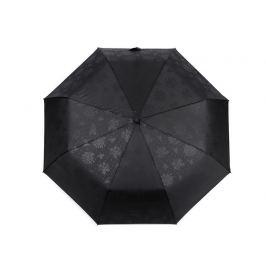 Dámsky skladací vystrelovací dáždnik s jemným vzorom čierna 1ks Stoklasa