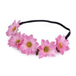 Pružná čelenka do vlasov s kvetmi ružová str. 1ks Stoklasa